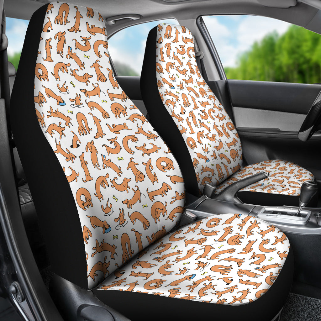 funny dachshund car seat covers white free shipping onepunz. Black Bedroom Furniture Sets. Home Design Ideas