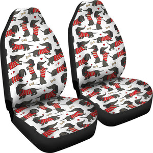Black Dachshund Happy Car Seat Covers (Set of 2) * Free Shipping! *