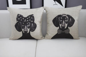 Home Goods - Mr. & Ms. Dachshund Cushion Cover * Free Shipping! *