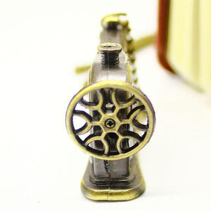 Necklace - Antique Bronze Sewing Machine Pocket Watch Necklace