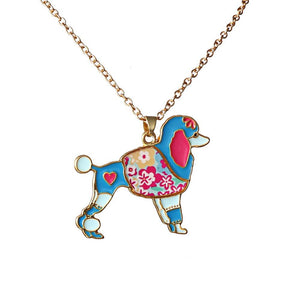 Necklace - Blue Poodle Gold Chain Necklace