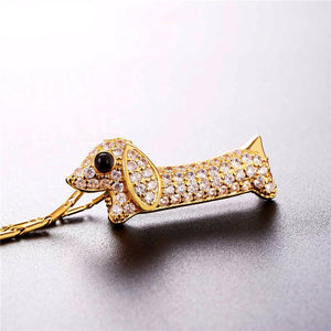 Necklace - Cubic Zirconia Dachshund Pendant Necklace