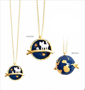 Necklace - Cute Cat Planet Pendant Necklace