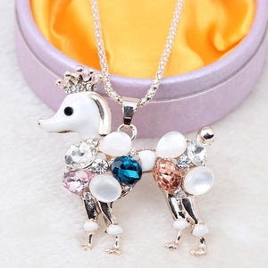Necklace - Cute Crystal Poodle Pendant Necklace