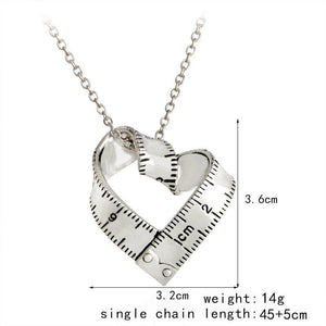 Necklace - Cute Heart Shaped Tape Measure Necklace