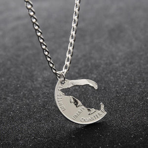 Necklace - Howling Wolf Relationship Necklace 2 Pcs/Set