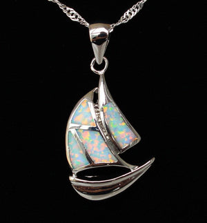 Necklace - Opal Sailboat Necklace
