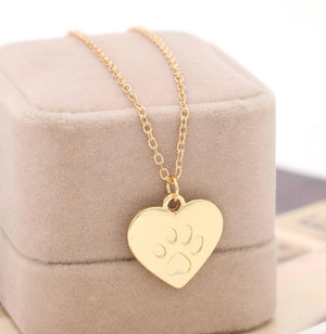 Necklace - Paw Print Heart Charm Necklace