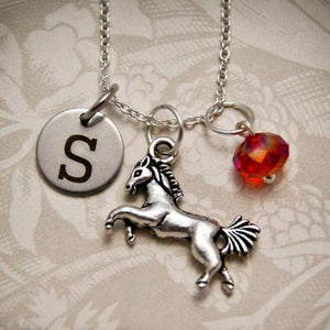 Necklace - Personalized Horse Necklace With Birthstone And Initial Charm