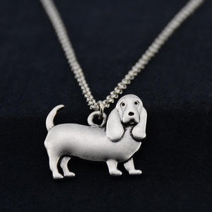 Necklace - Silver Basset Hound Pendant Necklace