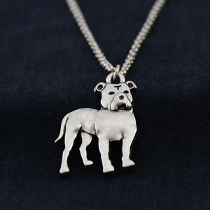 Necklace - Silver Pit Bull Pendant Necklace