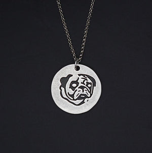 Necklace - Silver Pug Round Pendant Necklace