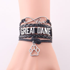 Infinity Love Great Dane Bracelet