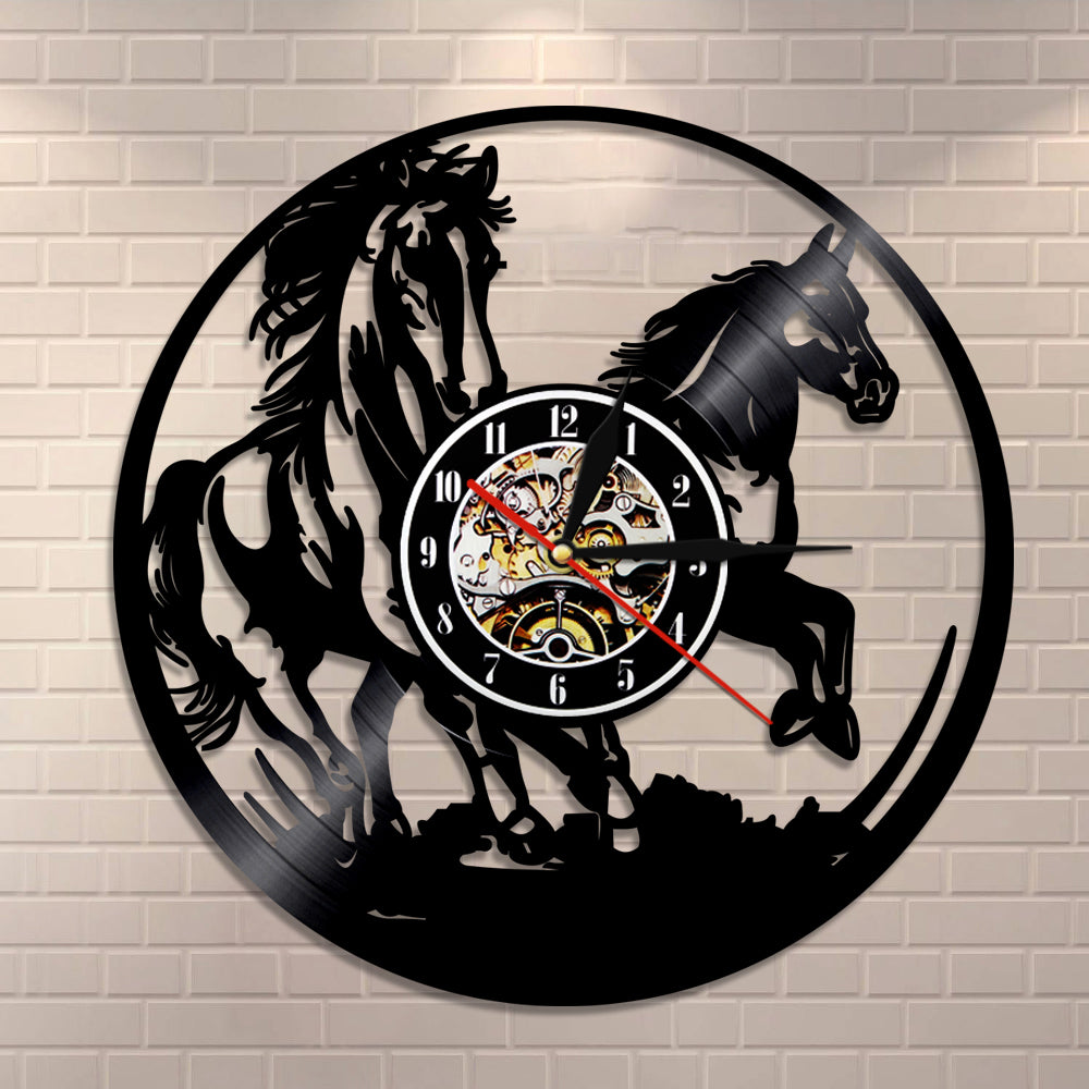 Horses vinyl record wall clock with led light onepunz horses vinyl record wall clock with led light mozeypictures Gallery