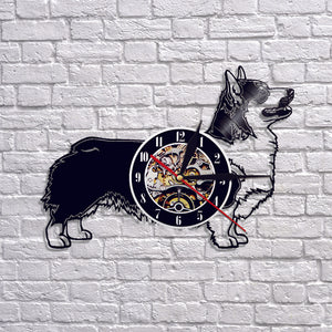 Corgi Vinyl Wall Clock