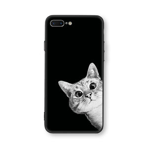 Cat Black Soft TPU Case for iPhone