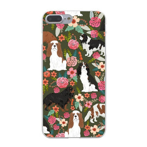 Flower Cavalier King Charles Spaniel iPhone Case