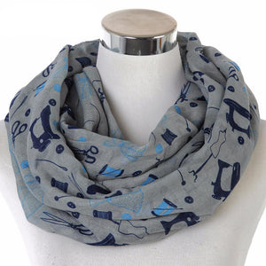 Scarf - Grey Scissors Sewing Machine Print Scarf