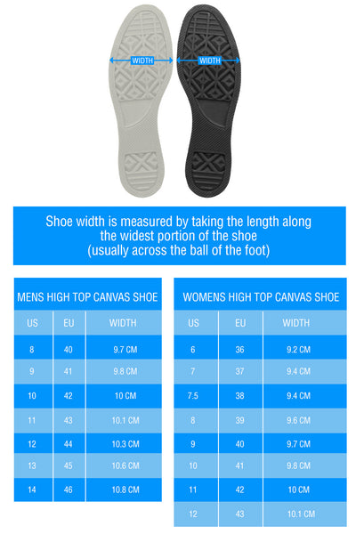 high top wirth size chart