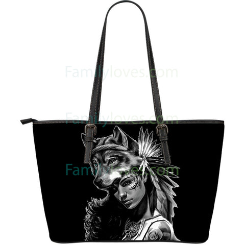 Native American Wolf  Woman Large Leather Bag