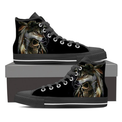 Native American wolf skull shoes for menfamilyloves