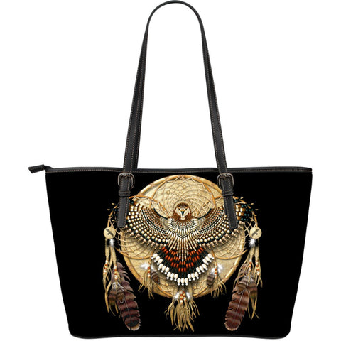 Native American Owl Dreamcatcher Large Leather Bags