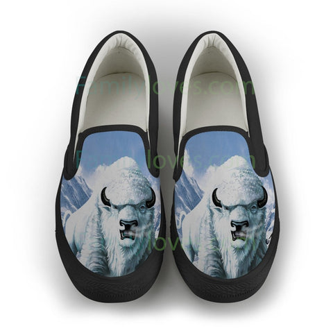 NATIVE AMERICAN  WHITE BUFFALO SLIP-ON SHOES