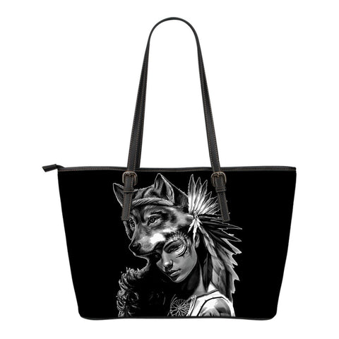 Native American Wolf Woman Small Leather Bags