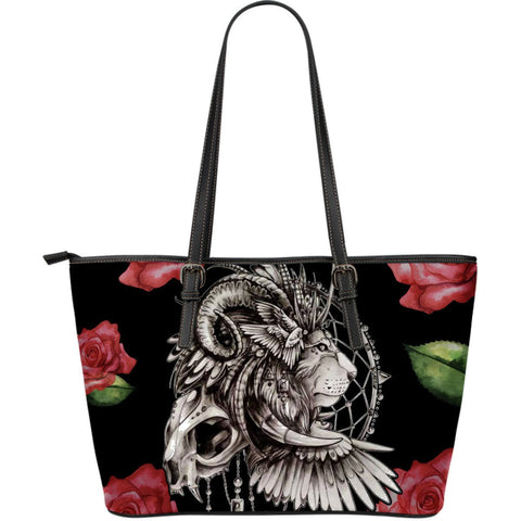 Native American Lion Dreamcatcher Large Leather Bags
