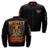 respect is earned honesty is appreciated trust is gained loyalty is returned over print bomber jacket