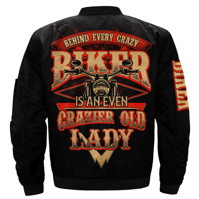 behind every crazy biker is and even crazier old lady OVER PRINT JACKET
