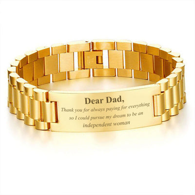 Buy Dear Dad, Thank you for always paying for everything so I could pursue my dream to be an independent woman-men bracelets - Familyloves hoodies t-shirt jacket mug cheapest free shipping 50% off