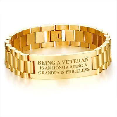 Buy Being a veteran is an honor being a grandpa is priceless-men's bracelets - Familyloves hoodies t-shirt jacket mug cheapest free shipping 50% off