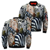 Zebras' Quadrille over print bomber jacket