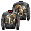 NATIVE AMERICAN INDIAN EAGLE WOLF SPIRIT ANIMALS OVER PRINT BOMBER JACKET