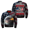 the only thing i love more being a veteran is being a grandpa over print Bomber jacket