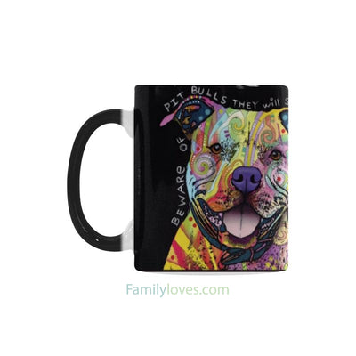 Buy Pitbull dog multi-color heat exchanging mugs - Familyloves hoodies t-shirt jacket mug cheapest free shipping 50% off
