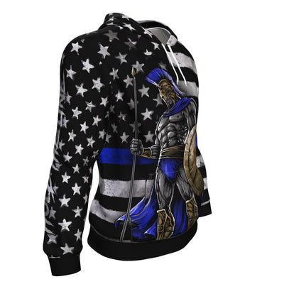 Blue Line Warrior ugly christmas hoodie