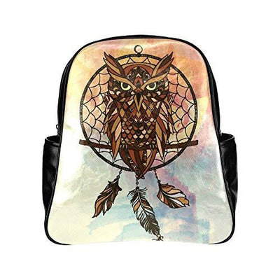 Buy Dreamcatcher Owls PU Leather Custom Backpack School Tavel Daypack Bag - Familyloves hoodies t-shirt jacket mug cheapest free shipping 50% off