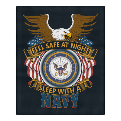 Buy DUVET COVER AND PILLOWCASES FEEL SAFE AT NIGHT SLEEP WITH A NAVY - Familyloves hoodies t-shirt jacket mug cheapest free shipping 50% off