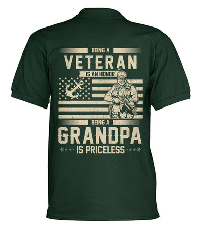 Buy Being a veteran is an honor being a grandpa is priceless polo shirt - Familyloves hoodies t-shirt jacket mug cheapest free shipping 50% off