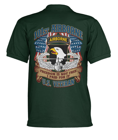 Buy 101st Airborne freedom is not free I paid for it U.S veteran polo shirt - Familyloves hoodies t-shirt jacket mug cheapest free shipping 50% off