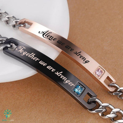 Buy ID BRACELETS 2 PIECES FOR MEN AND FOR WOMEN ALONE WE ARE STRONG TOGETHER WE ARE STRONGER - Familyloves hoodies t-shirt jacket mug cheapest free shipping 50% off