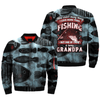 THERE AREN'T MANY THINGS, I LOVE MORE THAN FISHING BUT ONE OF THEM IS BEING GRANDPA over print bomber jacket