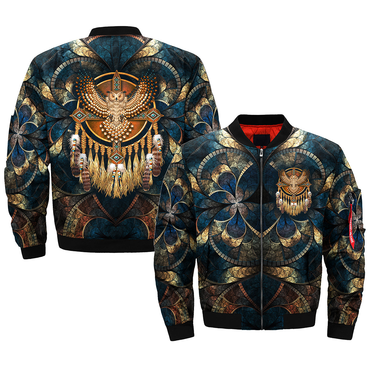 Native American Beadwork Owl Mandala Over Print Bomber Jacket