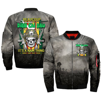 BEAUCOUP DIEN CAI DAU IT'S NAM THING over print Bomber jacket