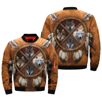 Buy 4 WOLVES DREAM CATCHER NATIVE OVER PRINT BOMBER JACKET - Familyloves hoodies t-shirt jacket mug cheapest free shipping 50% off