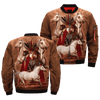 Native Stories of Horse Origins over print bomber jacket