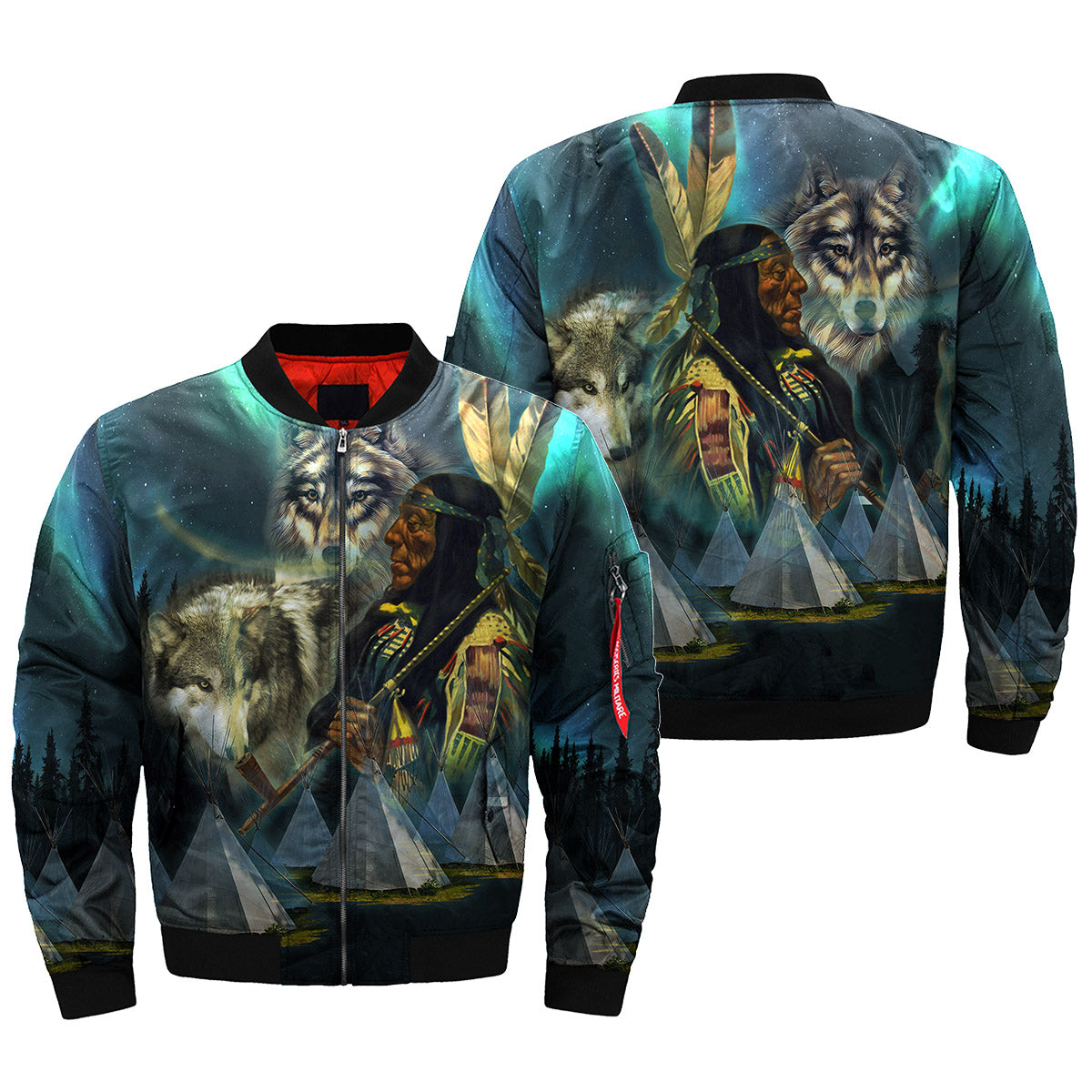Native Wolf Over Print Bomber Jacket Familyloves
