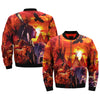 mens native american indian wolf - eagle - house over print Bomber jacket